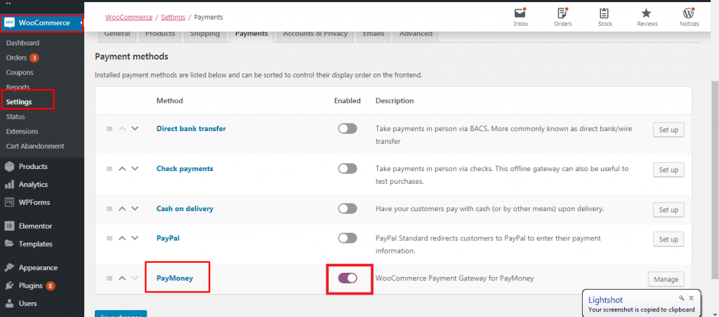 Payment Method Setting