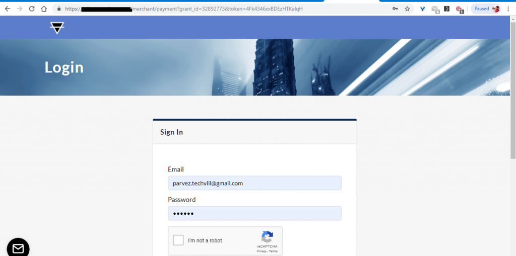 Redirecting to Paymoney Site